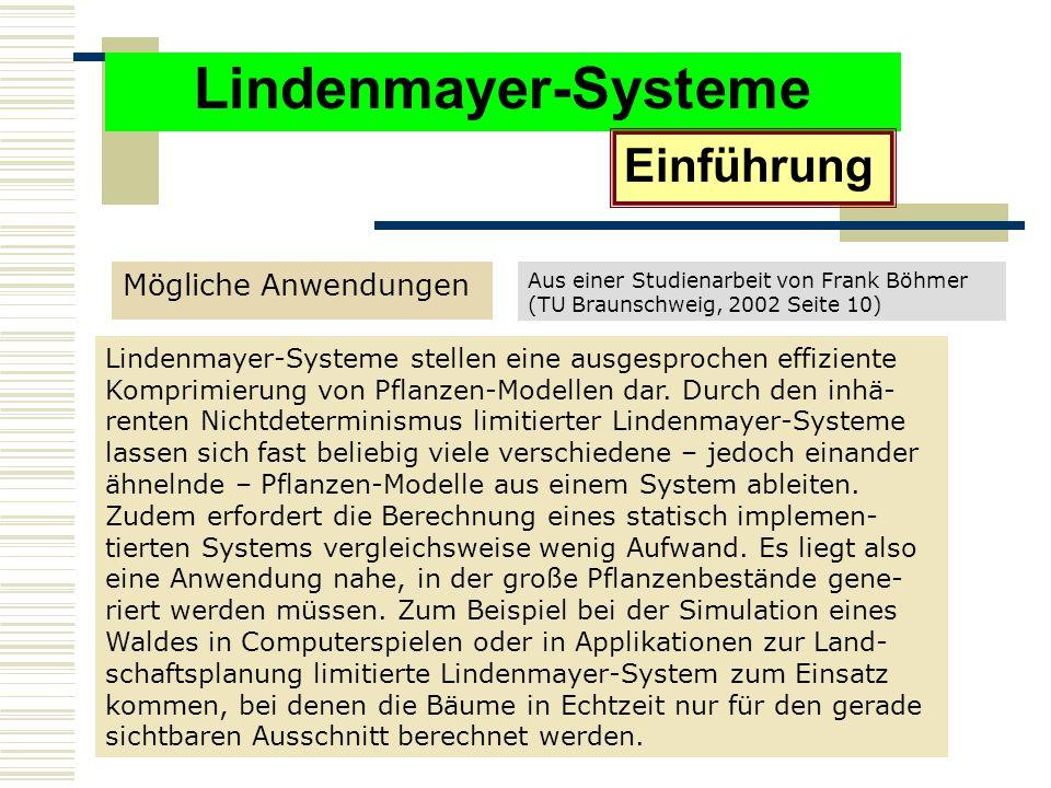 Lindenmayer-Systeme Einführung Mögliche Anwendungen