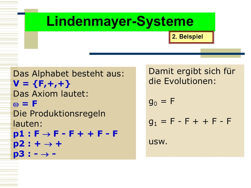 Lindenmayer-Systeme Damit ergibt sich für die Evolutionen: