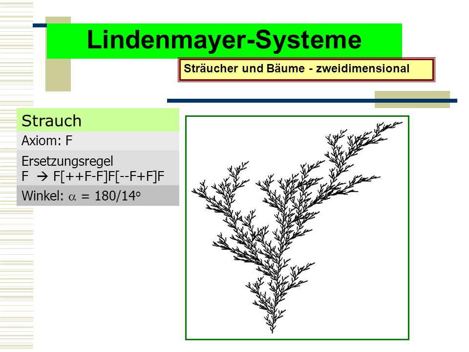 Lindenmayer-Systeme Strauch Axiom: F Ersetzungsregel