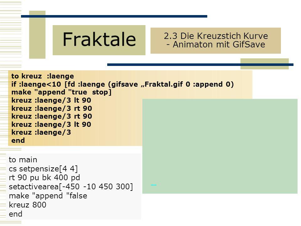 2.3 Die Kreuzstich Kurve - Animaton mit GifSave