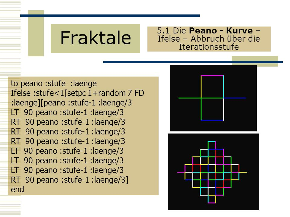 5.1 Die Peano - Kurve – Ifelse – Abbruch über die Iterationsstufe