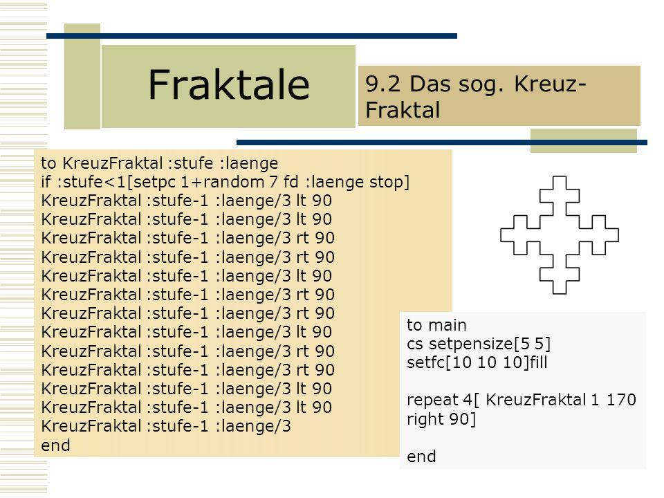 Fraktale 9.2 Das sog. Kreuz-Fraktal to KreuzFraktal :stufe :laenge