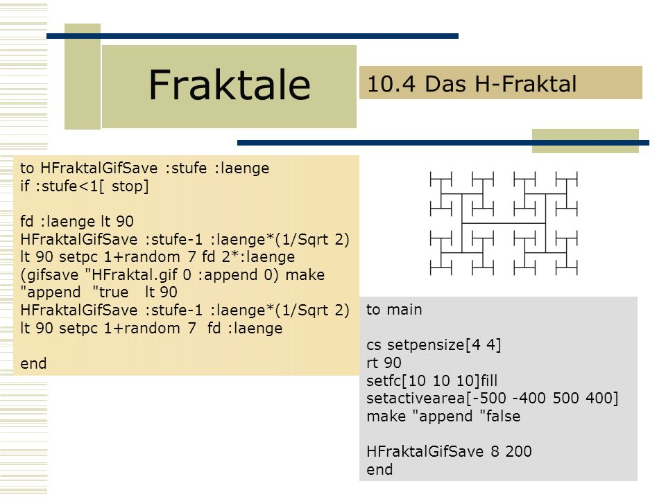 Fraktale 10.4 Das H-Fraktal to HFraktalGifSave :stufe :laenge
