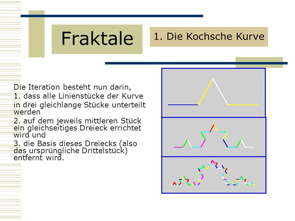 Fraktale 1. Die Kochsche Kurve Die Iteration besteht nun darin,