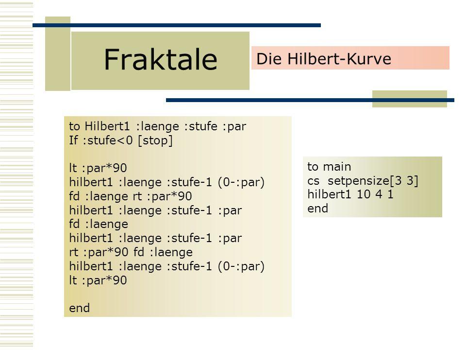 Fraktale Die Hilbert-Kurve to Hilbert1 :laenge :stufe :par