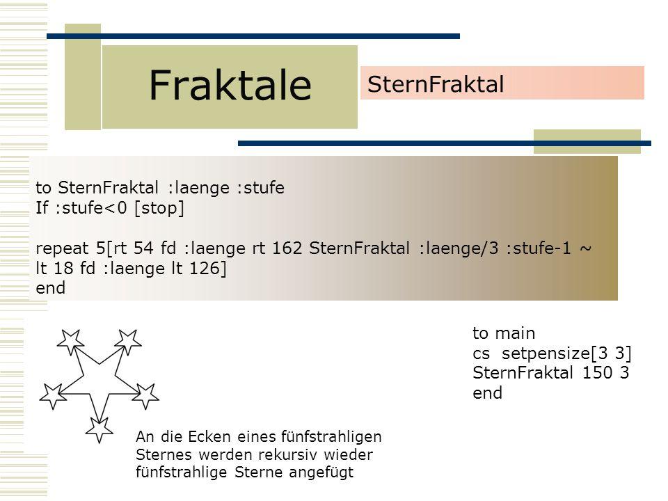 Fraktale SternFraktal to SternFraktal :laenge :stufe