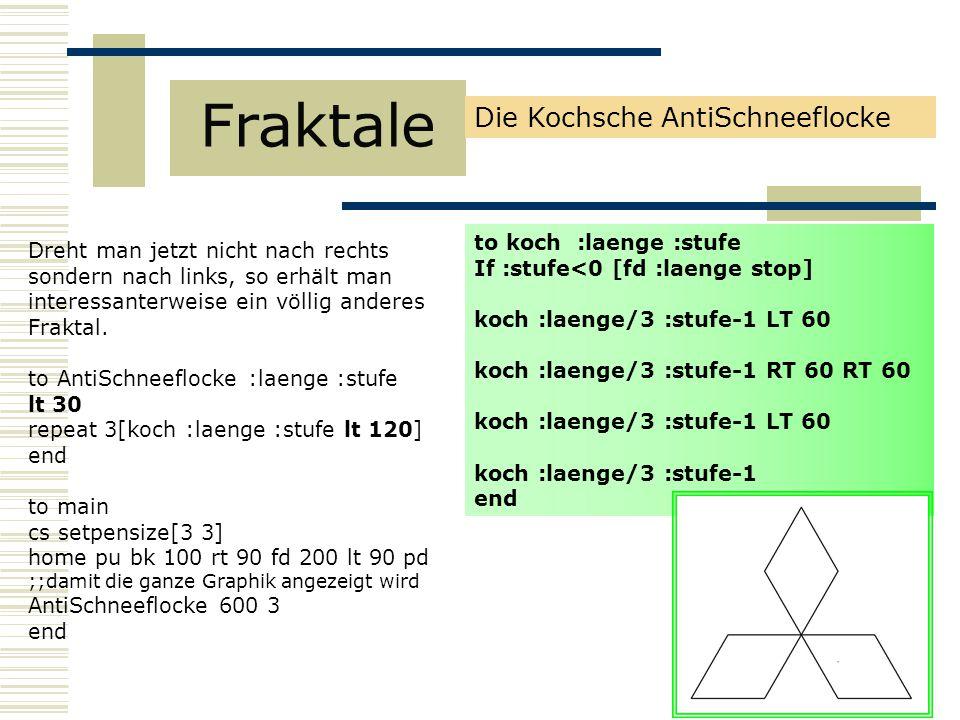 Fraktale Die Kochsche AntiSchneeflocke to koch :laenge :stufe