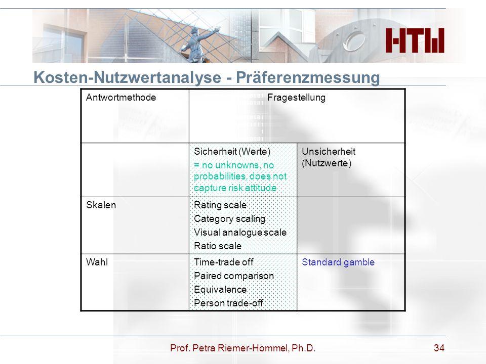 Kosten-Nutzwertanalyse - Präferenzmessung