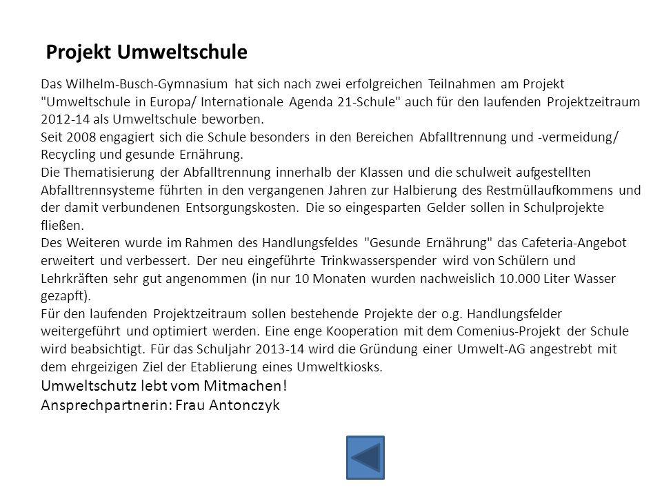 Projekt Umweltschule Umweltschutz lebt vom Mitmachen!