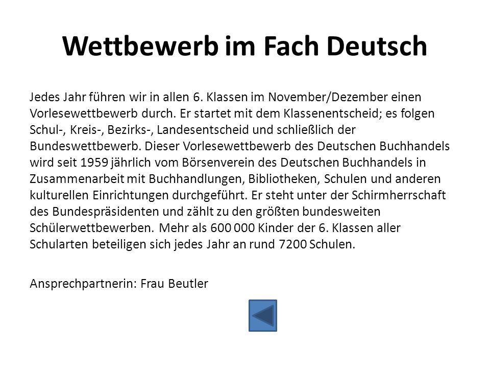 Wettbewerb im Fach Deutsch