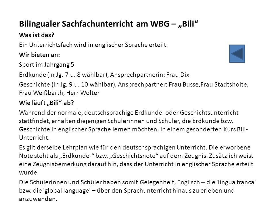 "Bilingualer Sachfachunterricht am WBG – ""Bili"
