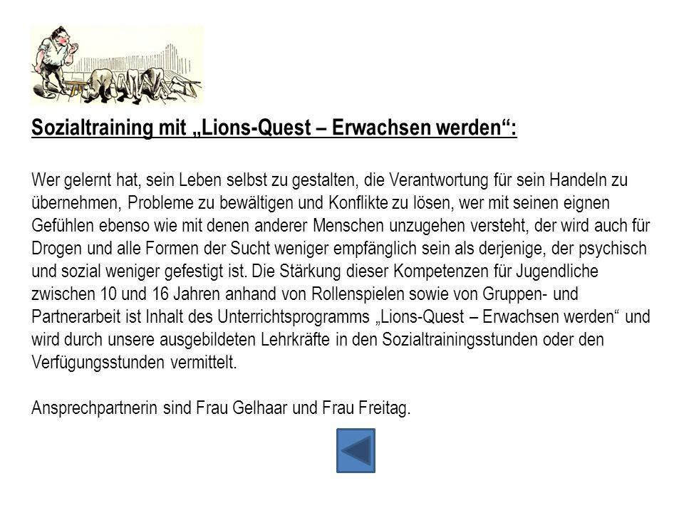 """Sozialtraining mit """"Lions-Quest – Erwachsen werden :"""