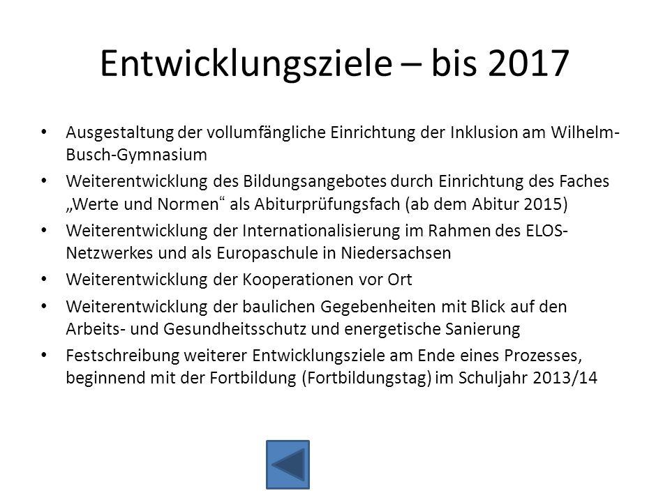 Entwicklungsziele – bis 2017