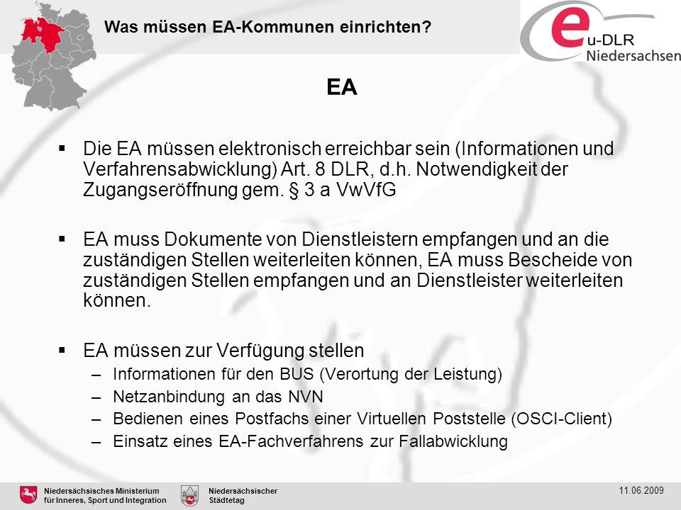 Was müssen EA-Kommunen einrichten