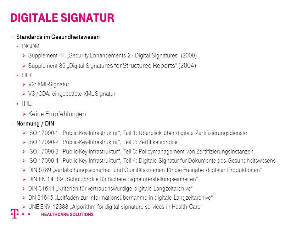 Digitale Signatur IHE Keine Empfehlungen Standards im Gesundheitswesen