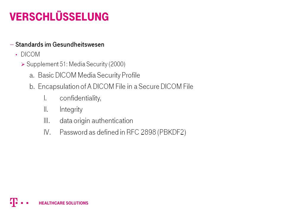 Verschlüsselung Basic DICOM Media Security Profile