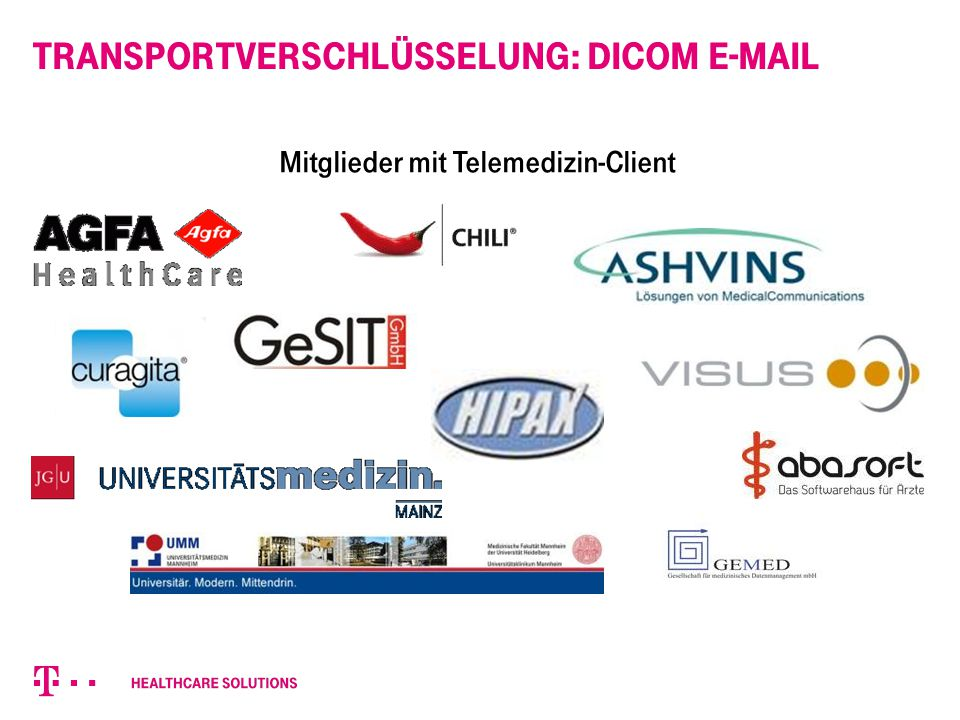 Transportverschlüsselung: DICOM E-Mail