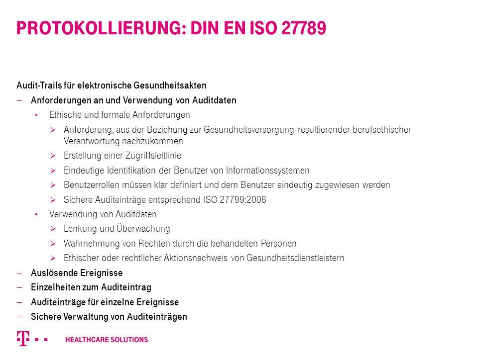 Protokollierung: DIN EN ISO 27789