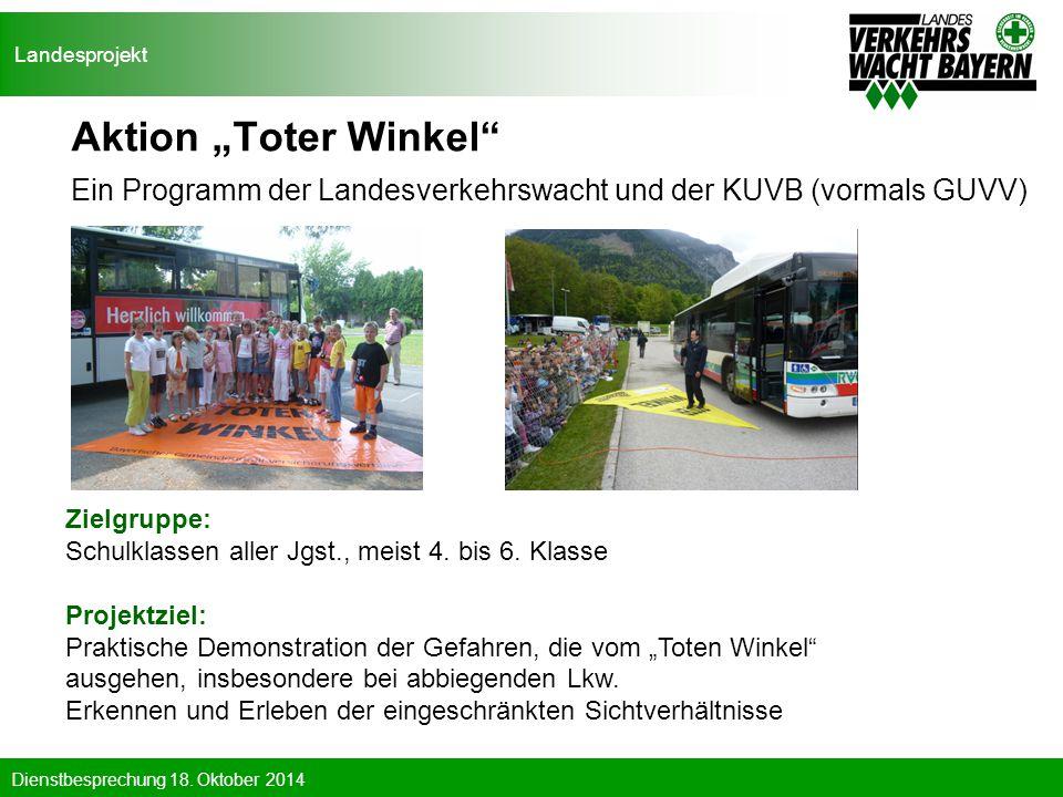 """Landesprojekt Aktion """"Toter Winkel Ein Programm der Landesverkehrswacht und der KUVB (vormals GUVV)"""