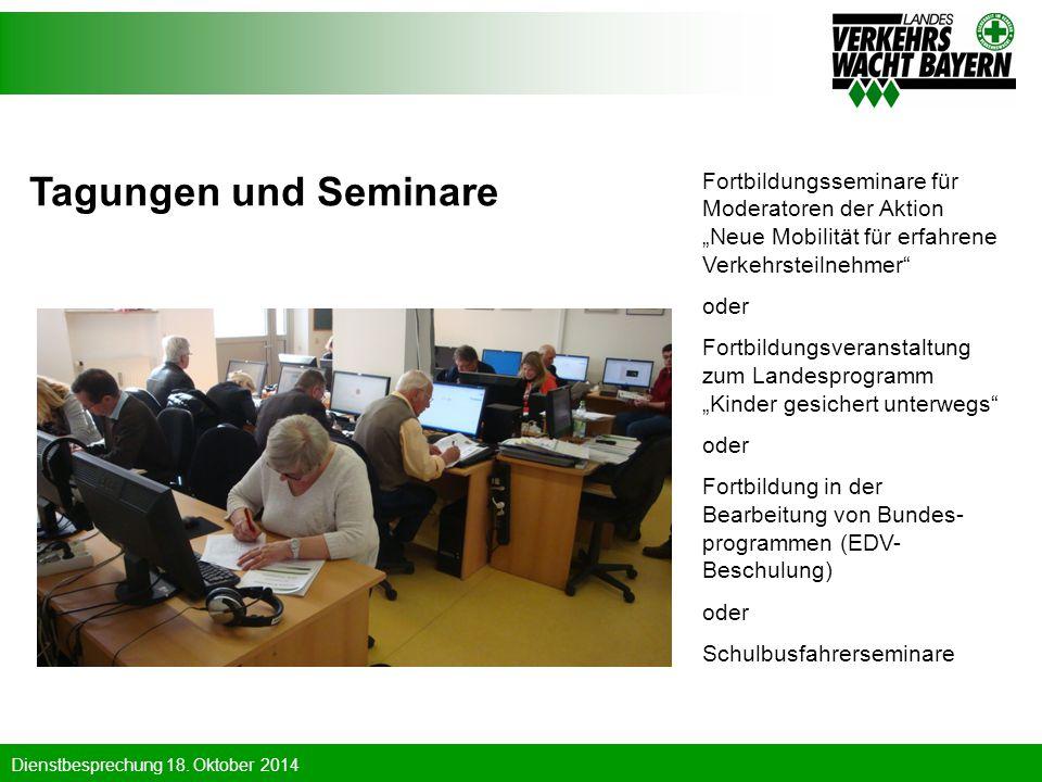 """Tagungen und Seminare Fortbildungsseminare für Moderatoren der Aktion """"Neue Mobilität für erfahrene Verkehrsteilnehmer"""