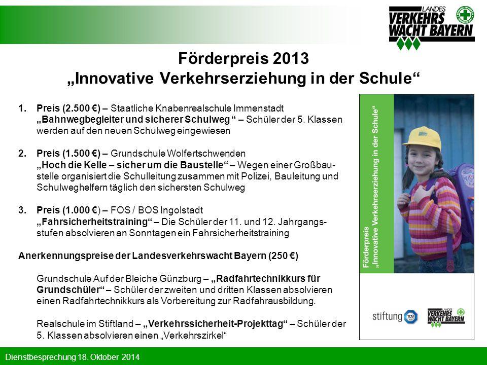 "Förderpreis 2013 ""Innovative Verkehrserziehung in der Schule"