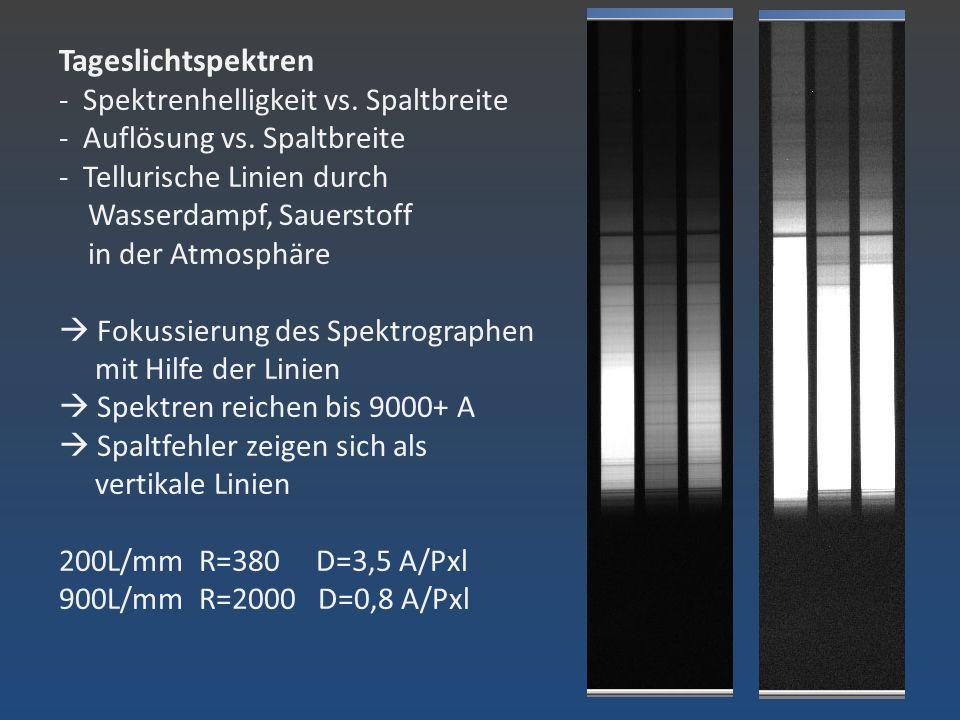 Tageslichtspektren - Spektrenhelligkeit vs. Spaltbreite - Auflösung vs
