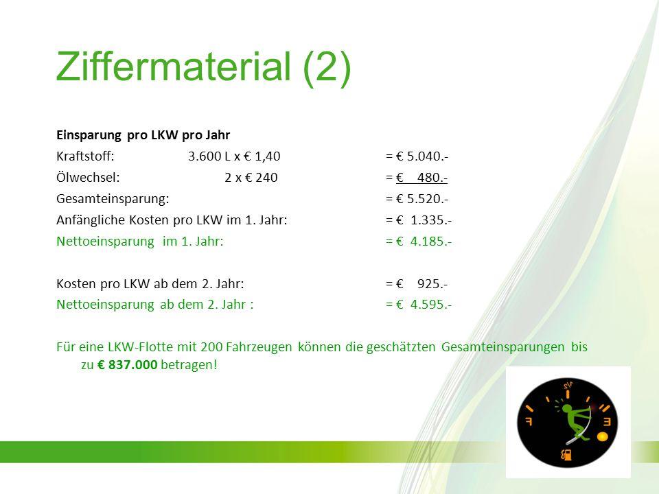 Ziffermaterial (2) Einsparung pro LKW pro Jahr