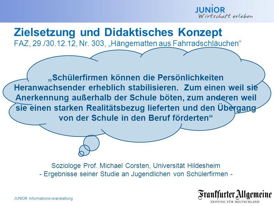 Zielsetzung und Didaktisches Konzept FAZ, 29. /30. 12. 12, Nr