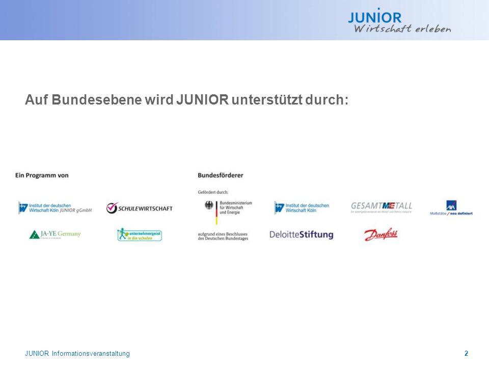 Auf Bundesebene wird JUNIOR unterstützt durch: