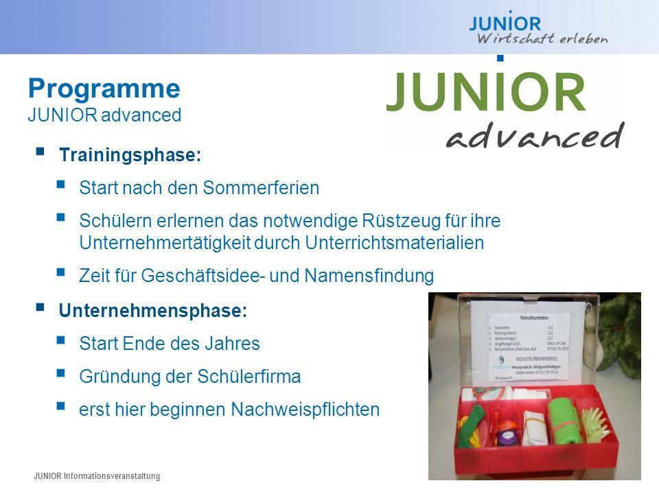 Programme JUNIOR advanced Trainingsphase: Start nach den Sommerferien