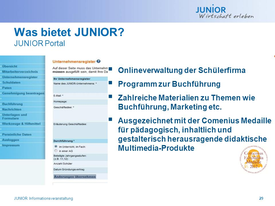 Was bietet JUNIOR JUNIOR Portal