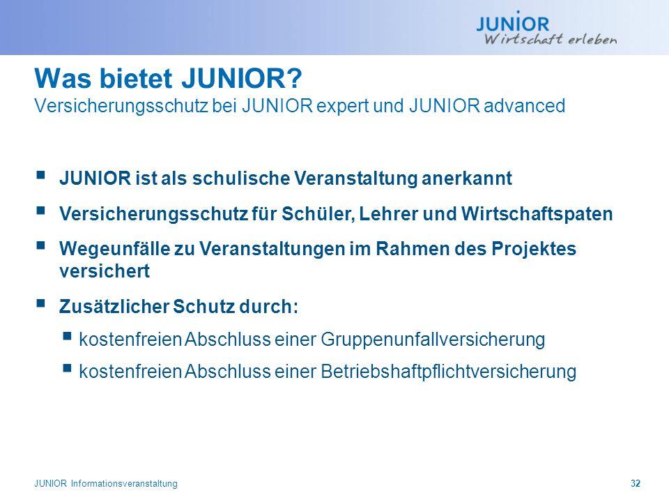 Was bietet JUNIOR Versicherungsschutz bei JUNIOR expert und JUNIOR advanced