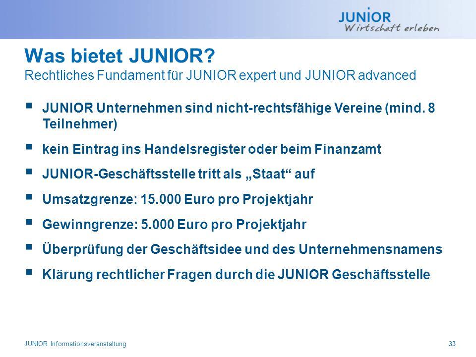Was bietet JUNIOR Rechtliches Fundament für JUNIOR expert und JUNIOR advanced