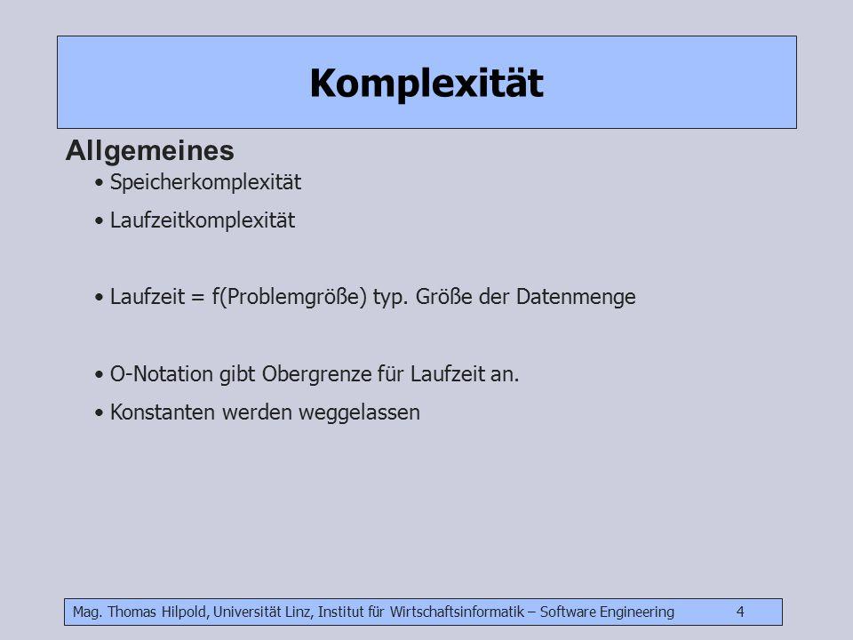 Komplexität Allgemeines Speicherkomplexität Laufzeitkomplexität