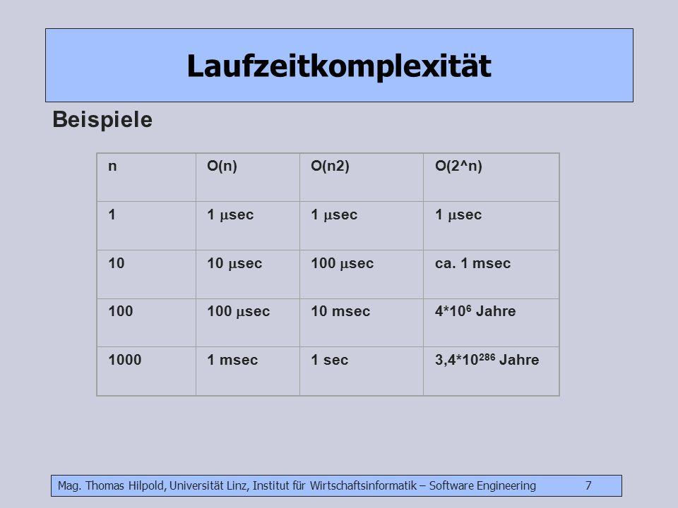 Laufzeitkomplexität Beispiele n O(n) O(n2) O(2^n) 1 1 sec 10 10 sec