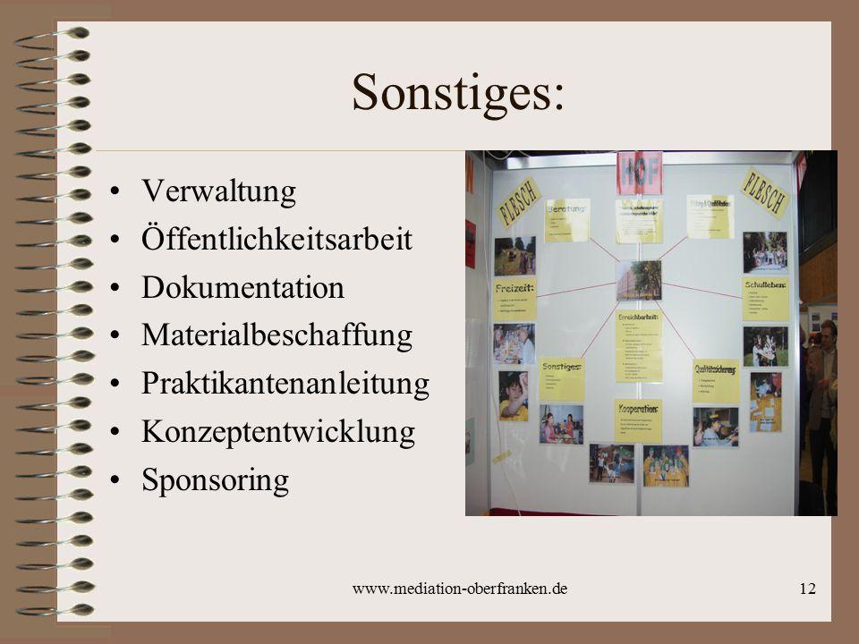 Sonstiges: Verwaltung Öffentlichkeitsarbeit Dokumentation