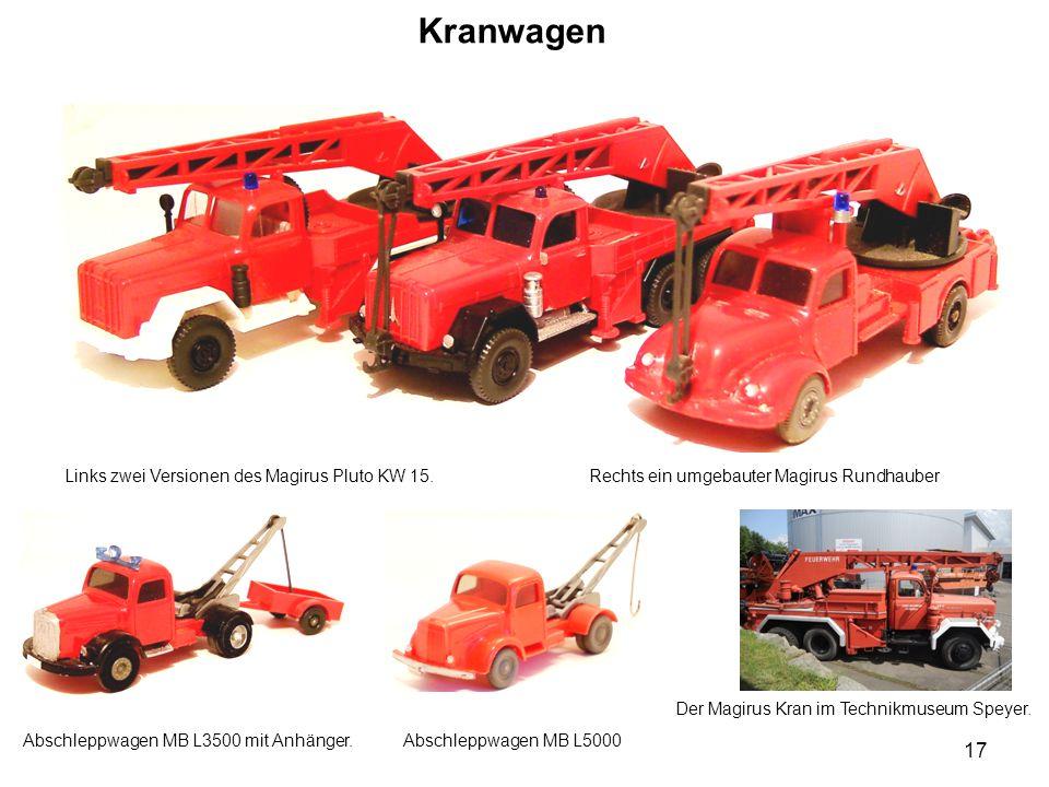 Kranwagen Links zwei Versionen des Magirus Pluto KW 15. Rechts ein umgebauter Magirus Rundhauber.