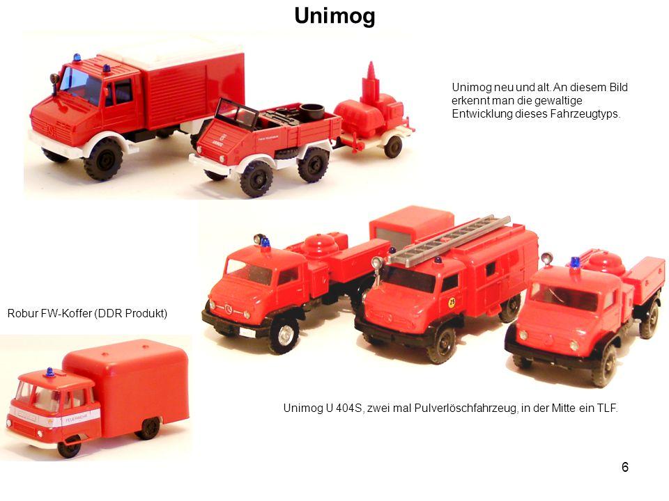 Unimog Unimog neu und alt. An diesem Bild erkennt man die gewaltige Entwicklung dieses Fahrzeugtyps.