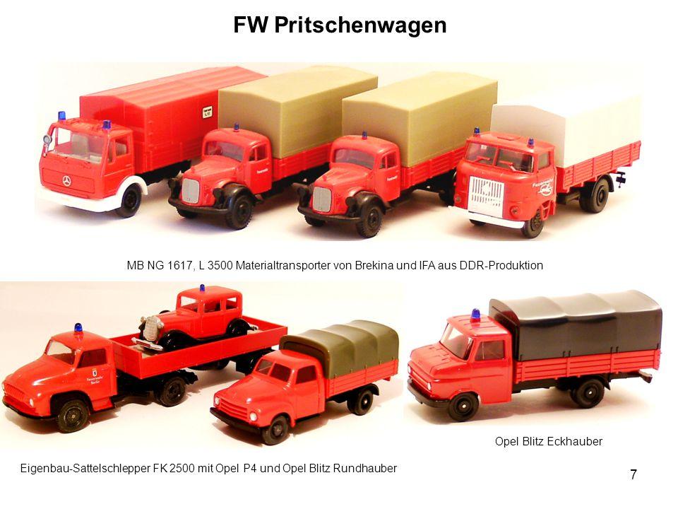 FW Pritschenwagen MB NG 1617, L 3500 Materialtransporter von Brekina und IFA aus DDR-Produktion. Opel Blitz Eckhauber.