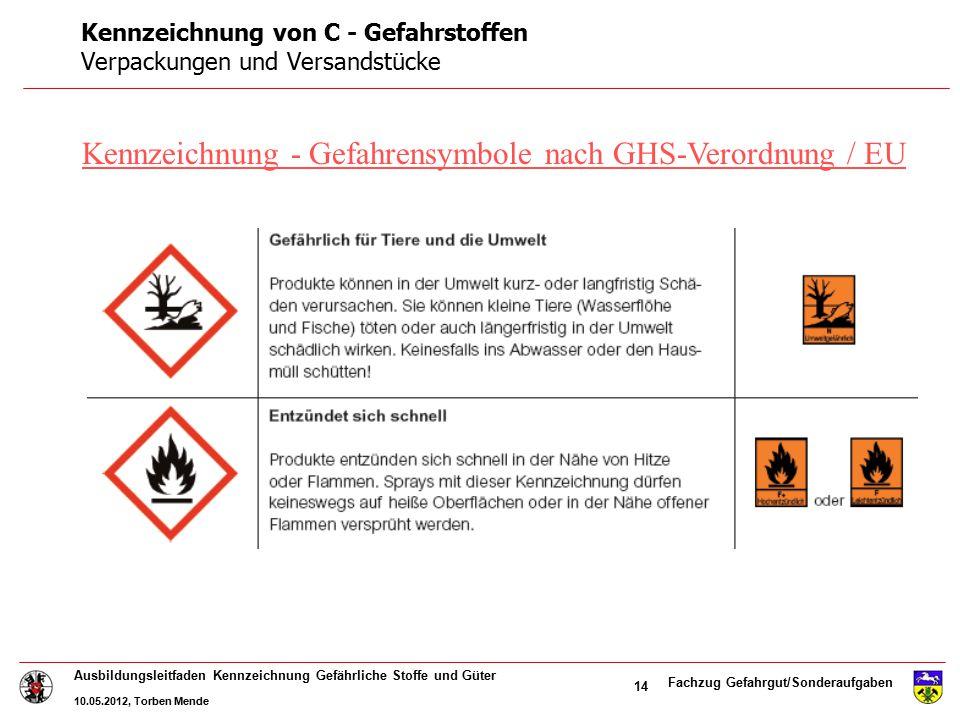 Kennzeichnung von C - Gefahrstoffen Verpackungen und Versandstücke