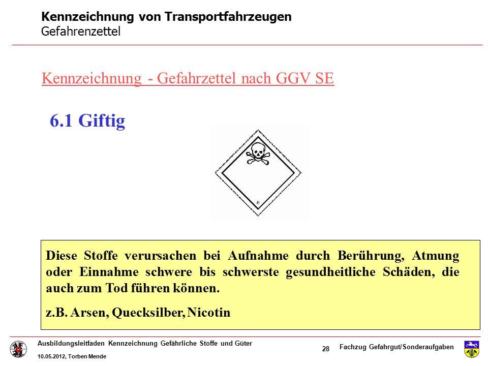 Kennzeichnung von Transportfahrzeugen Gefahrenzettel