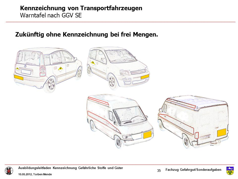 Kennzeichnung von Transportfahrzeugen Warntafel nach GGV SE