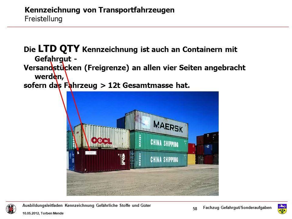 Kennzeichnung von Transportfahrzeugen Freistellung