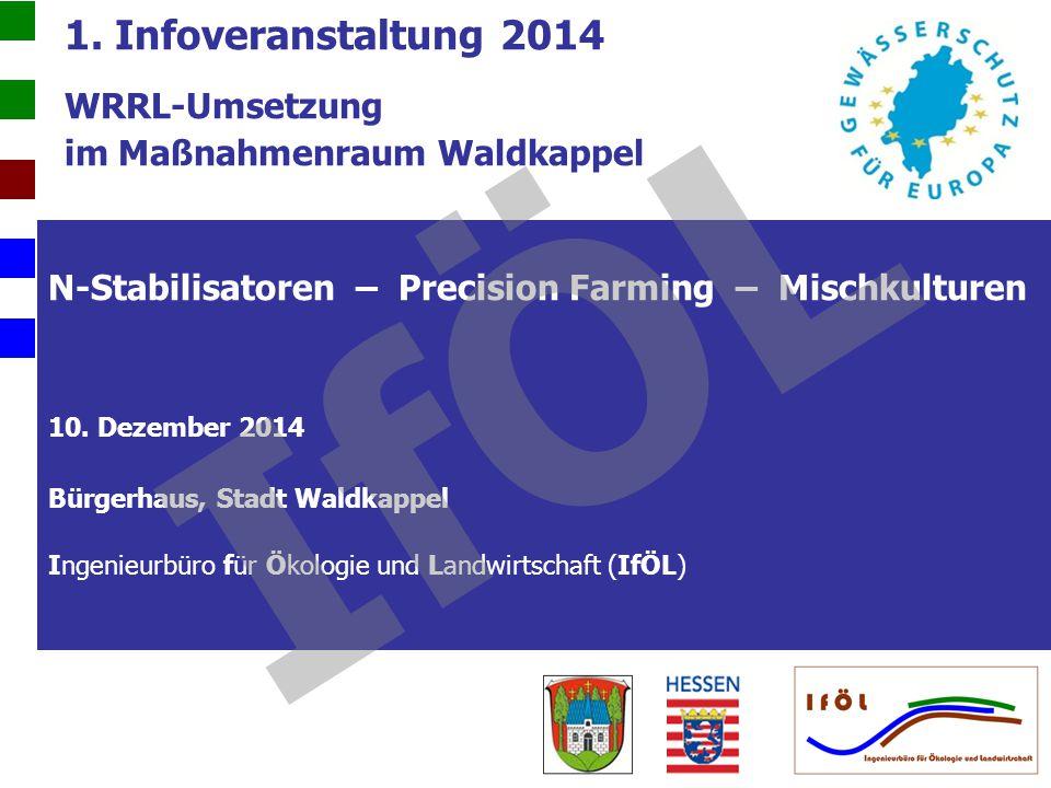 1. Infoveranstaltung 2014 WRRL-Umsetzung im Maßnahmenraum Waldkappel