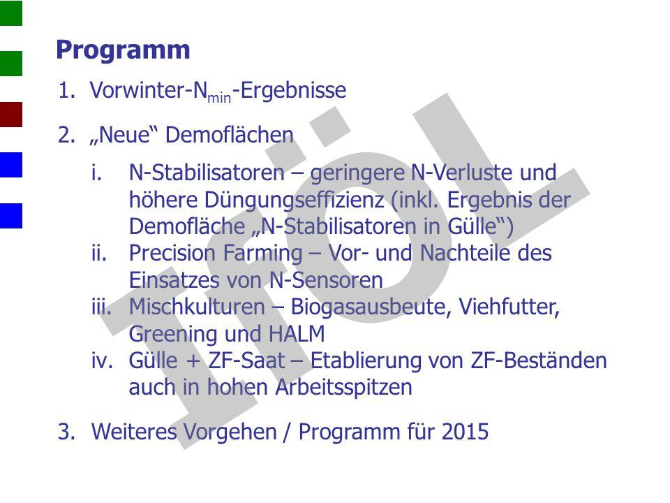 """IfÖL Programm Vorwinter-Nmin-Ergebnisse """"Neue Demoflächen"""