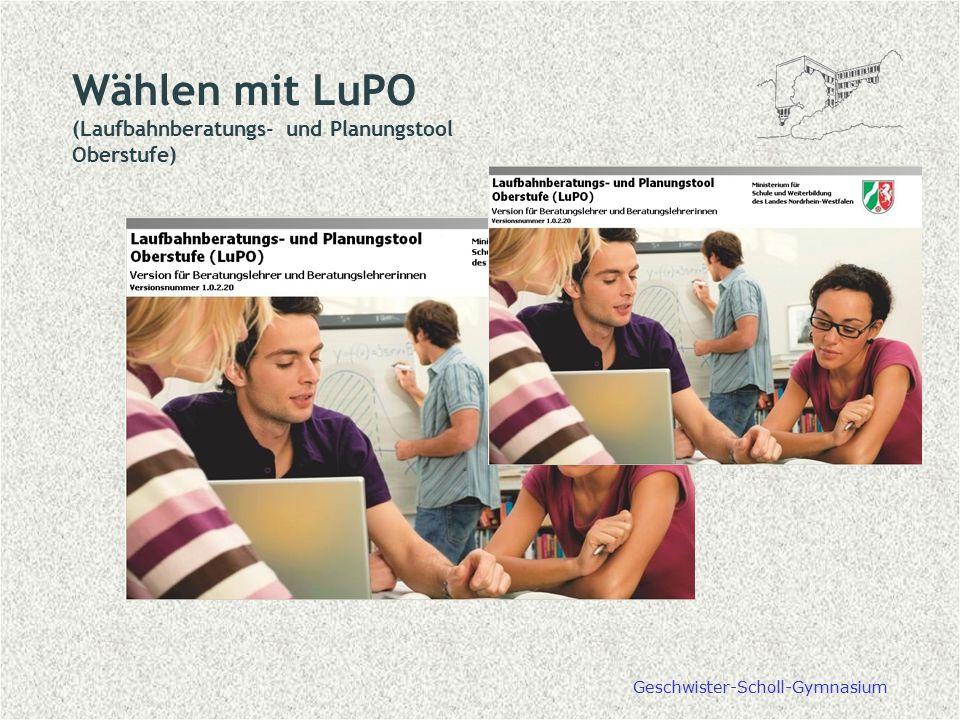 Wählen mit LuPO (Laufbahnberatungs- und Planungstool Oberstufe)