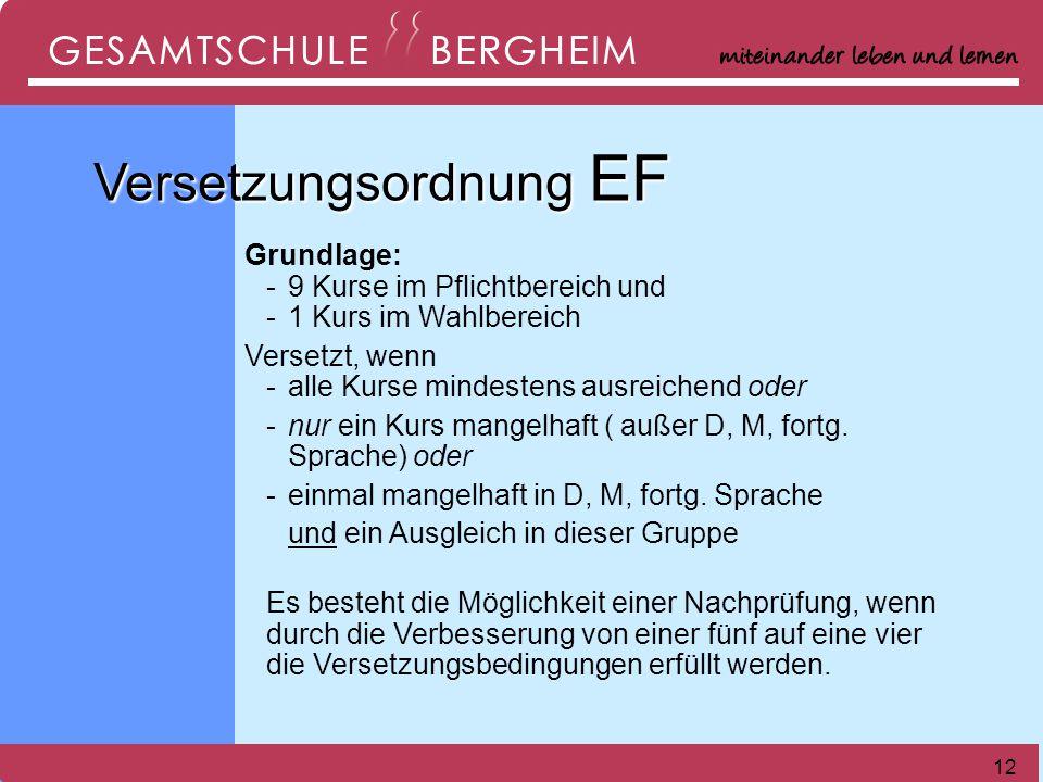 Versetzungsordnung EF