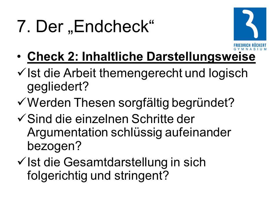 """7. Der """"Endcheck Check 2: Inhaltliche Darstellungsweise"""