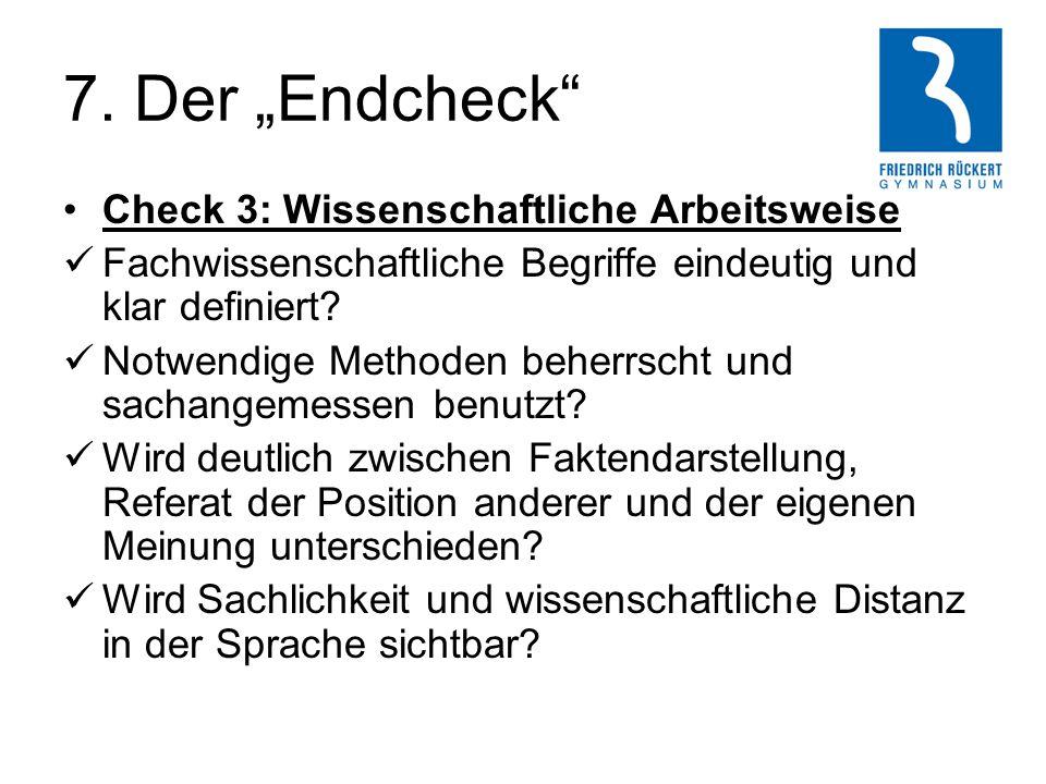 """7. Der """"Endcheck Check 3: Wissenschaftliche Arbeitsweise"""
