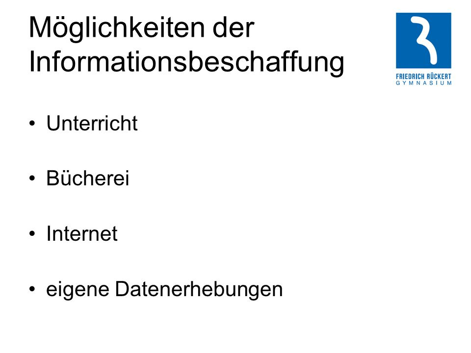 Möglichkeiten der Informationsbeschaffung